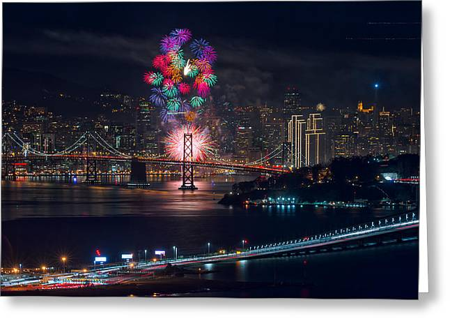 New Year Greeting Cards - New Year 2015 Fireworks San Francisco Greeting Card by David Yu