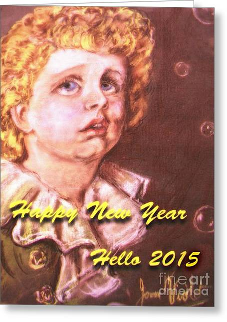 New Year Pastels Greeting Cards - New Year Bubbles Portrait  Greeting Card by Joan-Violet Stretch