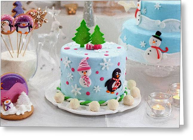 New Year Greeting Cards - New Year Cake Greeting Card by Victor Gladkiy