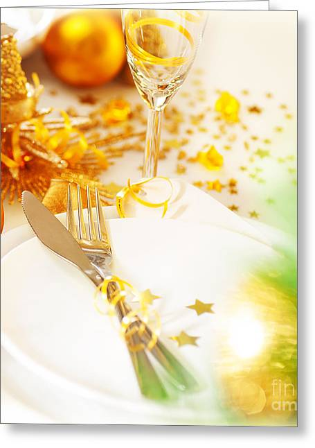 Champagne Glasses Greeting Cards - New Year dinner Greeting Card by Anna Omelchenko