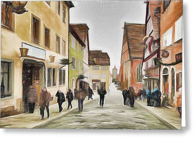 New Year Greeting Cards - New Year Eve at old town Greeting Card by Yury Malkov