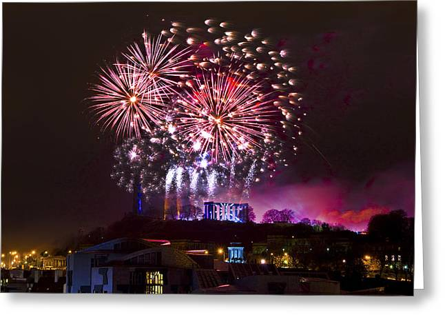 Torchlight Greeting Cards - New Year Fireworks 2013 Greeting Card by Grant Ritchie