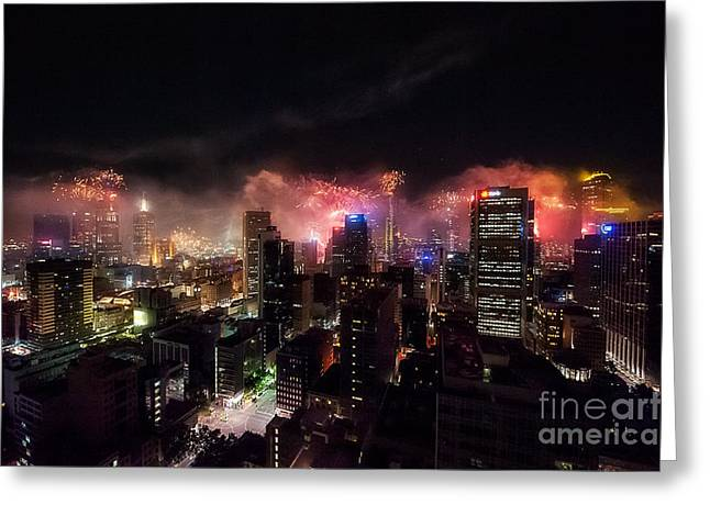 New Year Fireworks II Greeting Card by Ray Warren