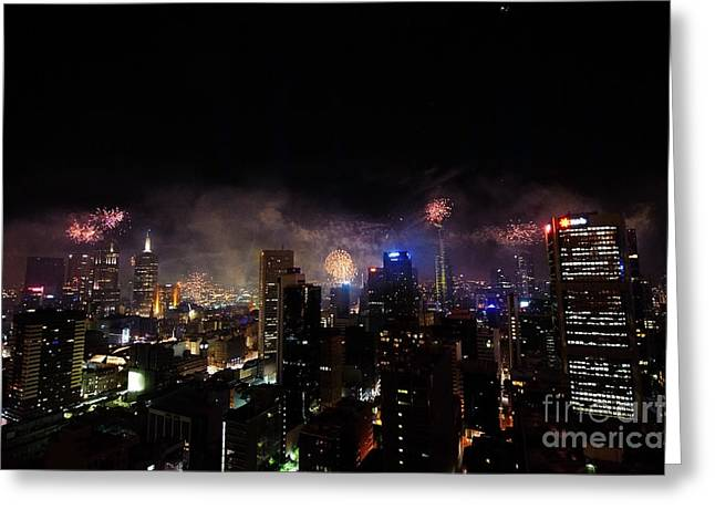 Skyrockets Greeting Cards - New Year Fireworks III Greeting Card by Ray Warren