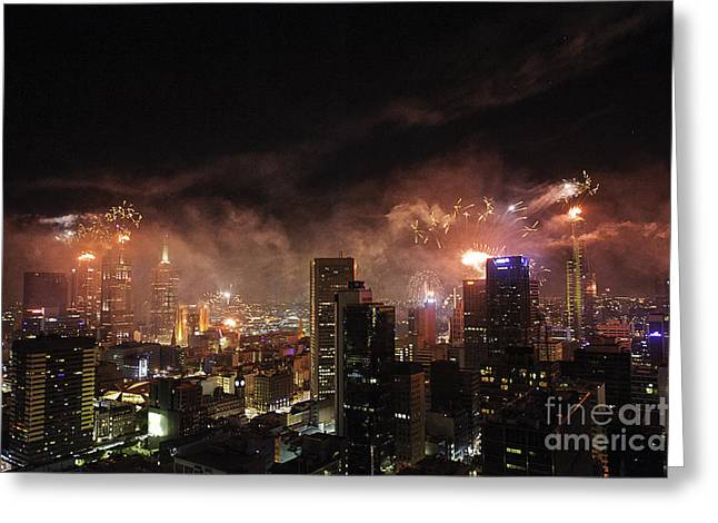 Pyrotechnics Greeting Cards - New Year Fireworks Greeting Card by Ray Warren
