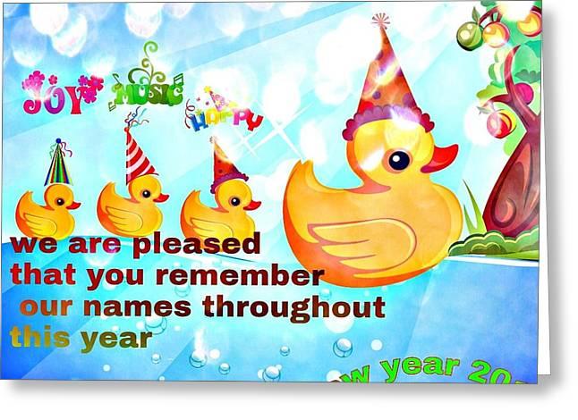 Ducklings Mixed Media Greeting Cards - New Year Greetings  Greeting Card by Siva Guru