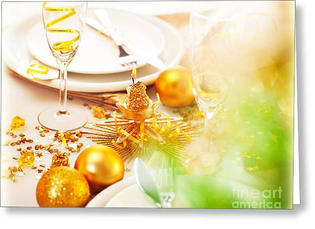Banquet Greeting Cards - New Year table decorations Greeting Card by Anna Omelchenko