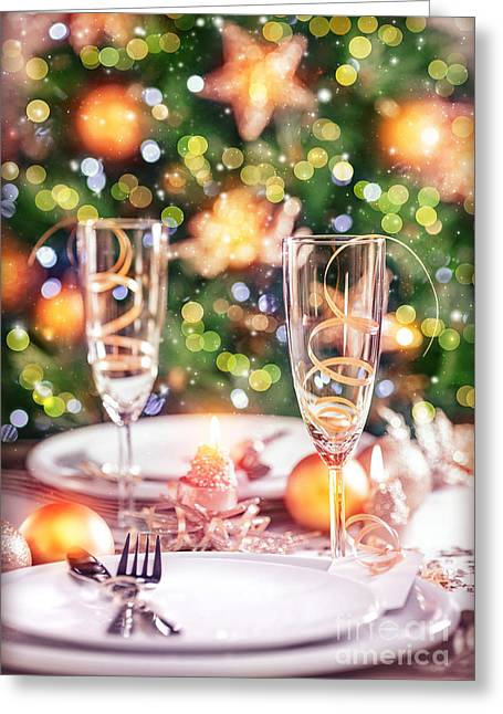 Banquet Greeting Cards - New Year table setting Greeting Card by Anna Omelchenko