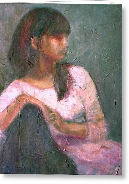 New Year's Blossom - Textural Original Oil On Canvas Portrait Greeting Card by Quin Sweetman