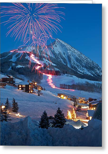 Torchlight Greeting Cards - New Years Eve Fireworks and Torchlight Parade Greeting Card by Dusty Demerson