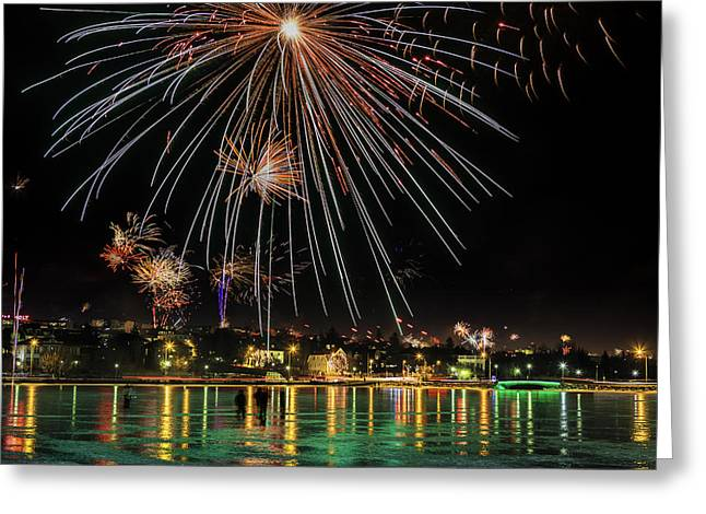 New Year Greeting Cards - New Years Eve Fireworks Are Legal Greeting Card by Panoramic Images