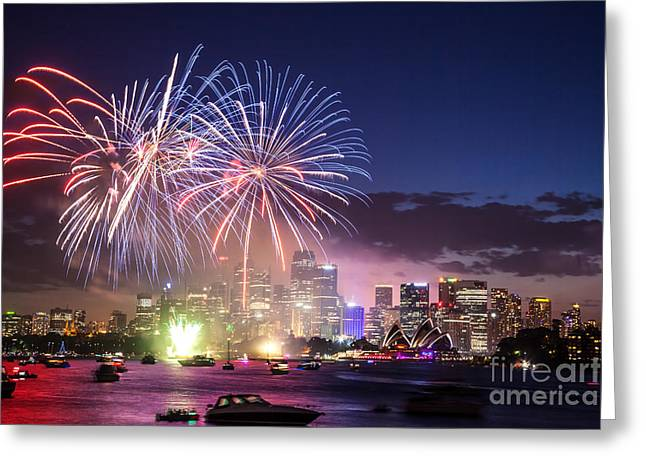 Fireworks Prints Greeting Cards - New years eve fireworks in Sydney - Australia Greeting Card by Matteo Colombo