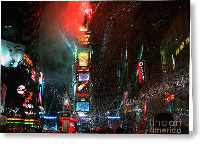 New Year Greeting Cards - New Years Eve In Times Square Greeting Card by Rafael Macia