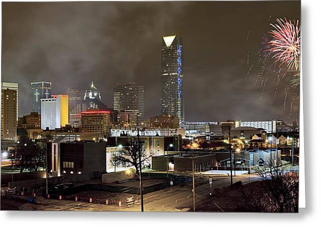 Celebration Art Print Greeting Cards - New Years In OKC Greeting Card by Ricky Barnard