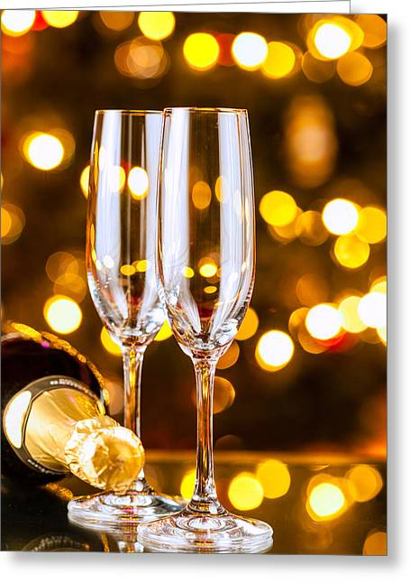 Champagne Glasses Greeting Cards - New Years preparations Greeting Card by Alexey Stiop