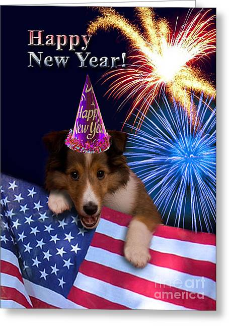 Wildlife Celebration Greeting Cards - New Years Sheltie Greeting Card by Jeanette K