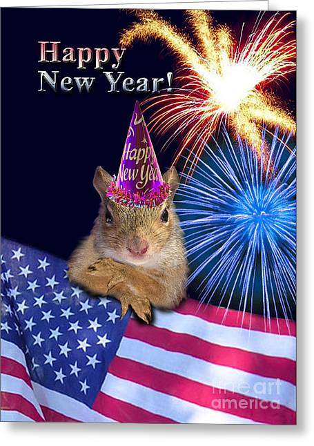 Wildlife Celebration Greeting Cards - New Years Squirrel Greeting Card by Jeanette K