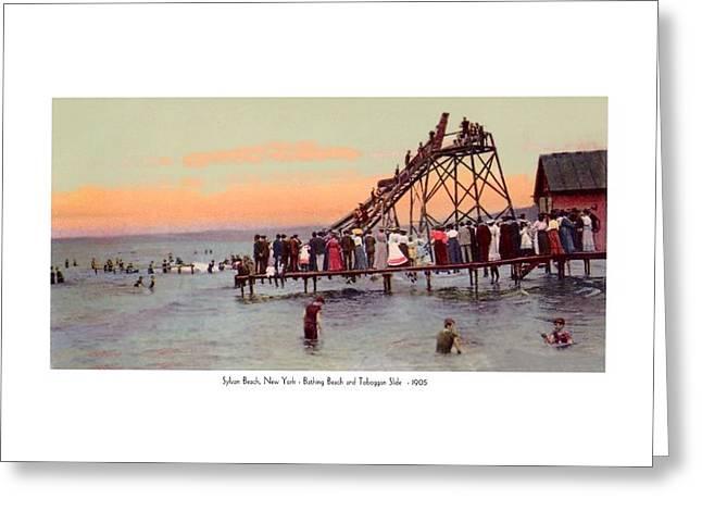 Tobogganing Digital Greeting Cards - New York - Sylvan Beach - Bathing Beach and Water Tobaggon - 1905 - Color Greeting Card by John Madison