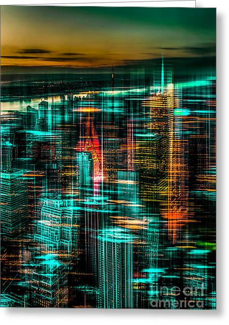 Hannes Cmarits Greeting Cards - New York - the night awakes - green Greeting Card by Hannes Cmarits