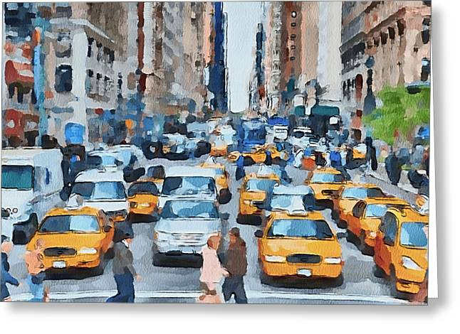 Live Art Greeting Cards - New York 1 Greeting Card by Yury Malkov