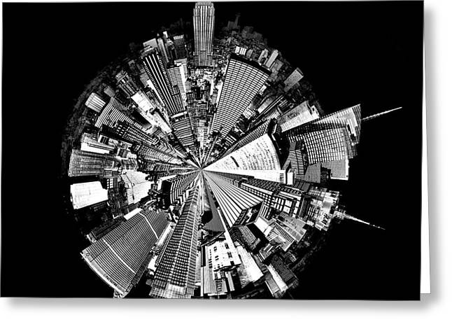 Manhattan Greeting Cards - New York 2 Circagraph Greeting Card by Az Jackson