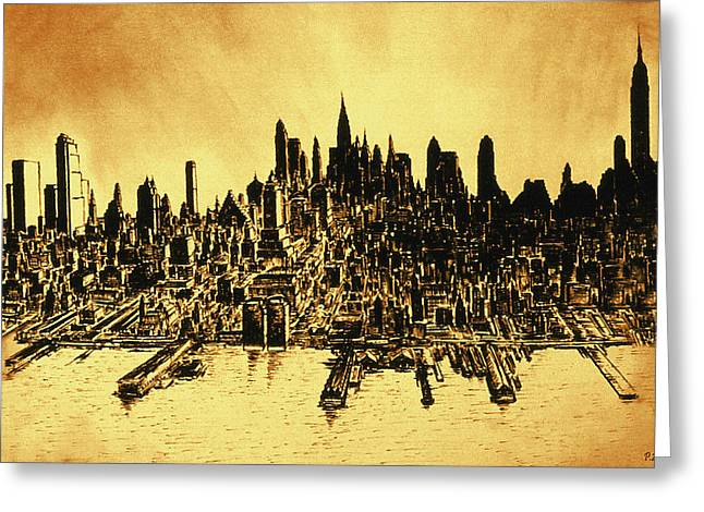 Urban Images Drawings Greeting Cards - New York City Skyline 78 - Oil Painting Greeting Card by Peter Fine Art Gallery  - Paintings Photos Digital Art