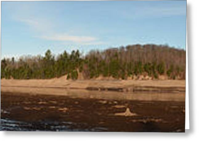 York Beach Greeting Cards - New York Adirondack Mountains Autumn Riverbed Panoranic Greeting Card by Maggy Marsh