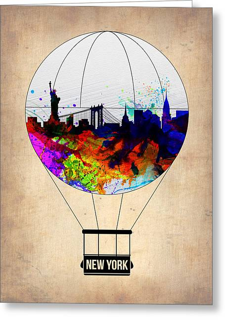 Tourists Greeting Cards - New York Air Balloon Greeting Card by Naxart Studio