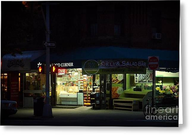 Gotham City Greeting Cards - Corner Shops - New York City at Night Greeting Card by Miriam Danar
