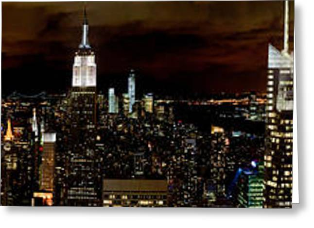 Midtown Greeting Cards - New York at night panorama Greeting Card by Gary Eason