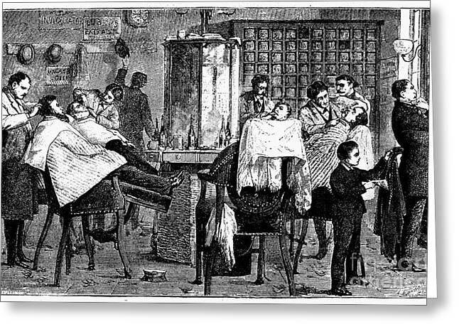New York: Barbershop, 1882 Greeting Card by Granger