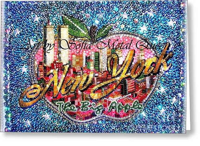 New York City Jewelry Greeting Cards - New York big apple beadwork embroidery Greeting Card by Sofia Metal Queen