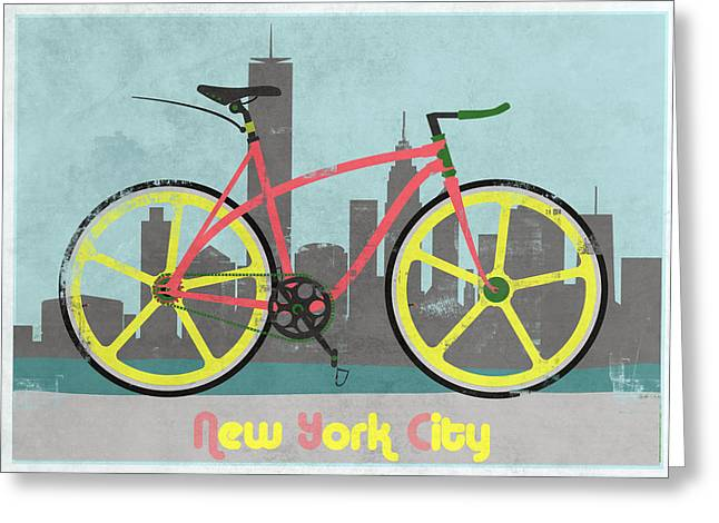Messenger Greeting Cards - New York Bike Greeting Card by Andy Scullion