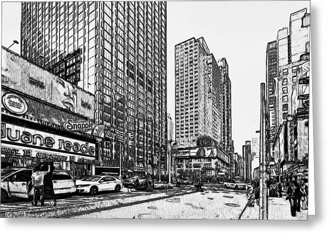 Live Art Greeting Cards - New York Black and White 11 Greeting Card by Yury Malkov