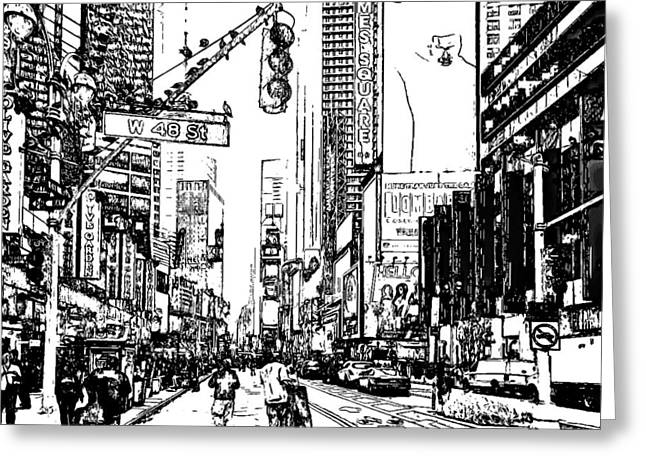 Live Art Greeting Cards - New York Black and White 13 Greeting Card by Yury Malkov