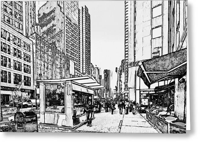 Live Art Greeting Cards - New York Black and White 14 Greeting Card by Yury Malkov