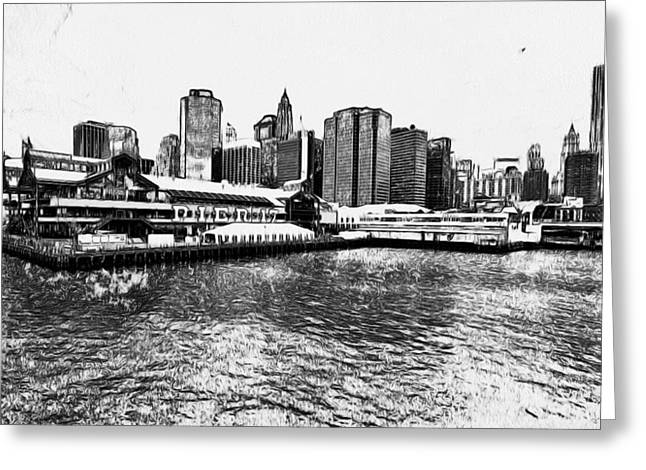 Live Art Greeting Cards - New York Black and White 7 Greeting Card by Yury Malkov