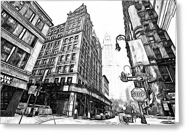 Live Art Greeting Cards - New York Black and White 9 Greeting Card by Yury Malkov
