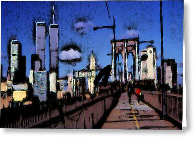 Picturesque Mixed Media Greeting Cards - New York Blue - Expressionistic Art Painting Greeting Card by Peter Fine Art Gallery  - Paintings Photos Digital Art