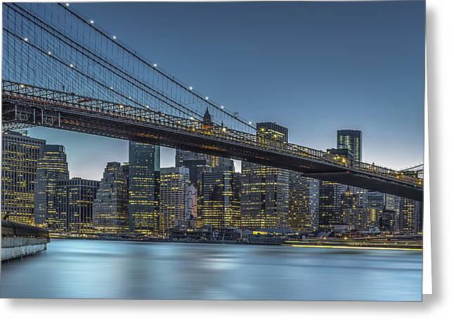New York - Blue Hour Over Manhattan Greeting Card by Michael Jurek