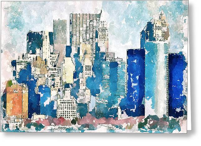 Live Art Greeting Cards - New York Blue Greeting Card by Yury Malkov