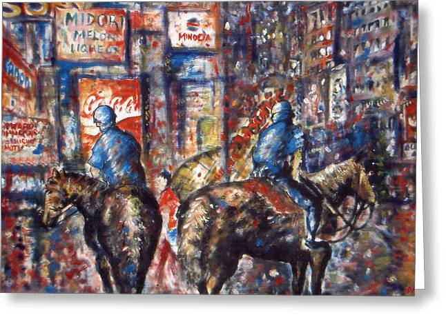 Police Art Drawings Greeting Cards - New York Broadway at Night - Oil Painting Greeting Card by Peter Fine Art Gallery  - Paintings Photos Digital Art