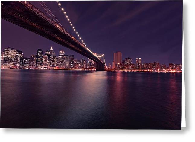 York Beach Greeting Cards - New York Brooklyn Bridge at Night Greeting Card by David Dehner