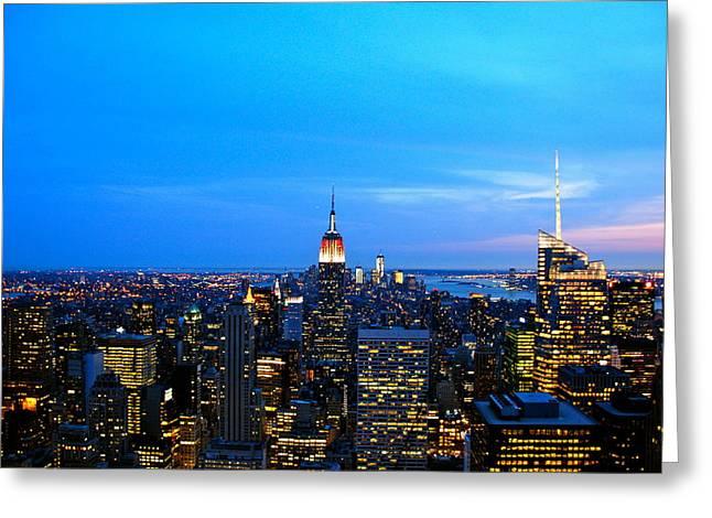New York By Night Greeting Card by Eric Dewar