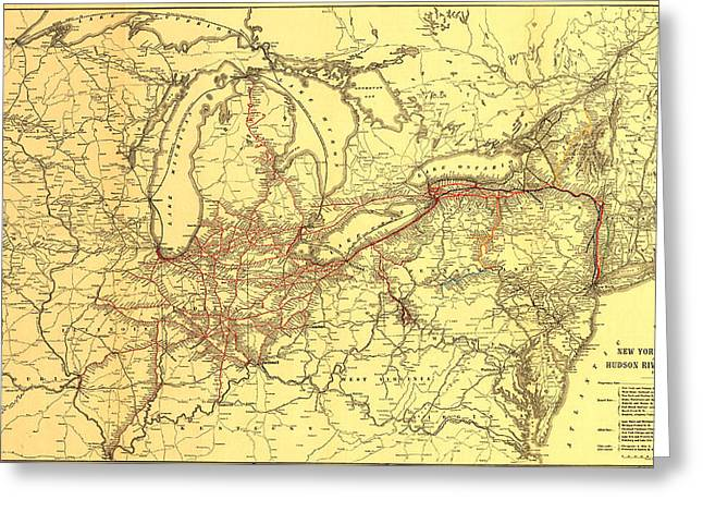 Rail Line Greeting Cards - New York Central and Hudson River Railroad 1900 Greeting Card by Mountain Dreams