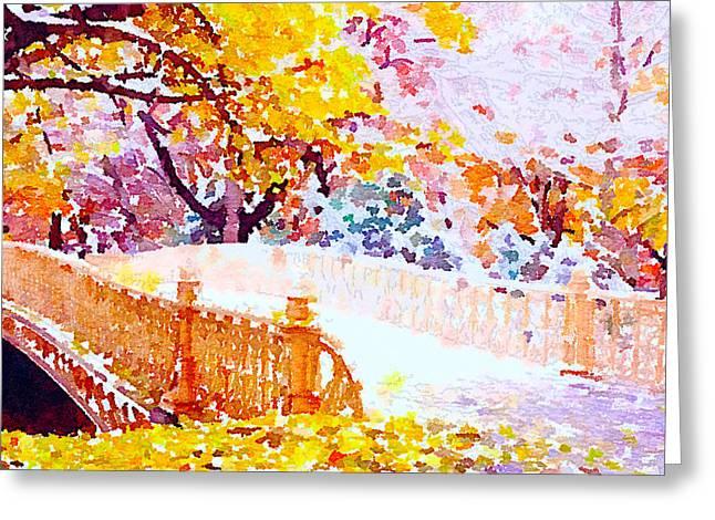 Live Art Greeting Cards - New York Central Park Bridge Greeting Card by Yury Malkov