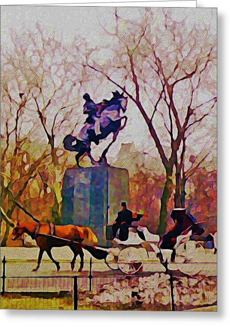 John Malone Artist Greeting Cards - New York Central Park Greeting Card by John Malone JSM Fine Arts Halifax NS