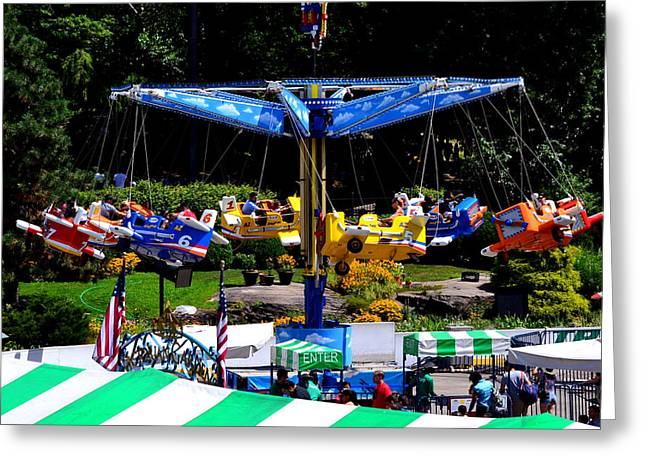 Wollman Rink Greeting Cards - New York Central Park Victorian Gardens at Wollman Rink Family Amusement Park Greeting Card by Julie Vega