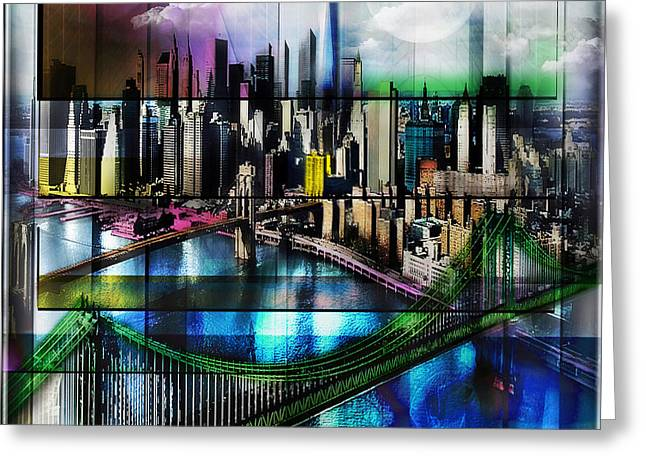Famous Bridge Mixed Media Greeting Cards - New York Greeting Card by Christine Mayfield