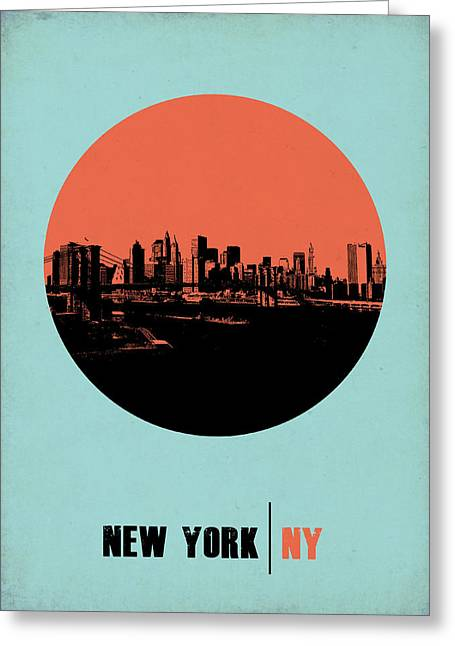 Panoramic Greeting Cards - New York Circle Poster 2 Greeting Card by Naxart Studio